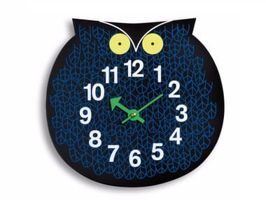 Wall-mounted plywood kids clock OMAR THE OWL
