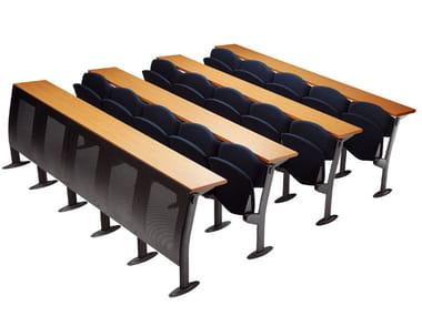 Modular bench desk with integrated chairs OMNIA