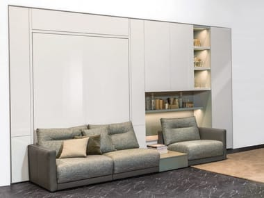 Lacquered storage wall with fold-away bed ON-OFF - COMPOSITION 09