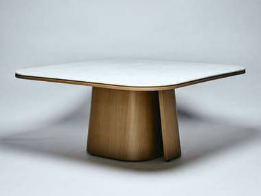 Carrara marble and american walnut dining table OOMA