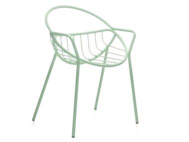 Sedia da giardino in acciaio verniciato a polvere con schienale aperto NUVOLETTA | Sedia con schienale aperto