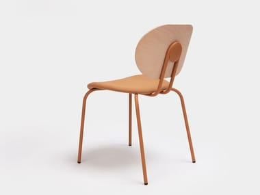 Open back steel and wood chair with integrated cushion HARI   Open back chair