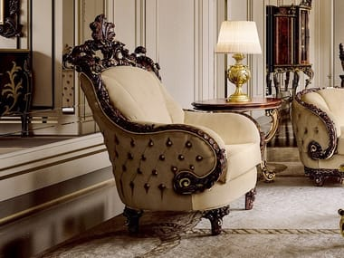 Tufted fabric armchair with armrests OPERA | Tufted armchair