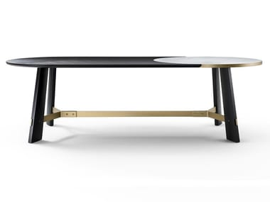 Oval wooden and Calacatta Oro marble table OPERA   Calacatta Oro marble table