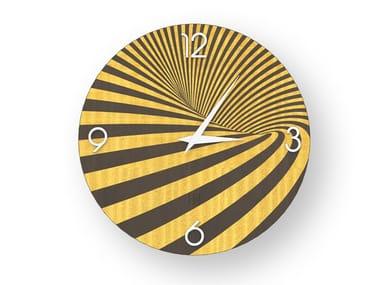 Wall clock made of inlayed wood OPTICAL COLORS | Clock