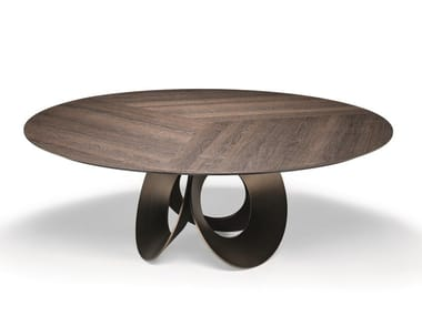 Round wood fibre living room table ORACLE | Wood fibre table