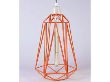 Lampada a sospensione / lampada da tavolo in metallo ORANGE CAGE GREY FABRIC WIRE