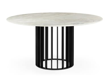 Round Calacatta marble dining table ORBITER CALACATTA | Dining table