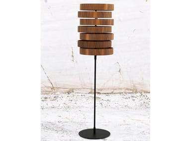 Indirect light wood veneer floor lamp OREOL