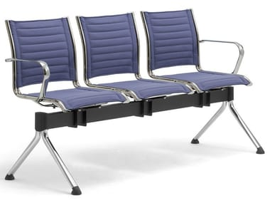Freestanding chrome plated steel and fabric beam seating ORIGAMI   Fabric beam seating