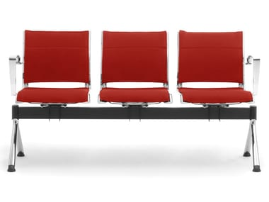 Freestanding chrome plated steel and leather beam seating ORIGAMI | Leather beam seating