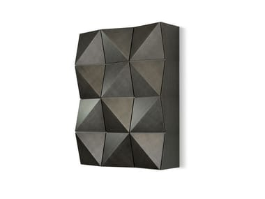 Lacquered wooden wall cabinet with door ORIGAMI