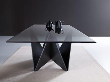 Tavolo rettangolare in legno e vetro ORIGAMI   Tavolo in vetro