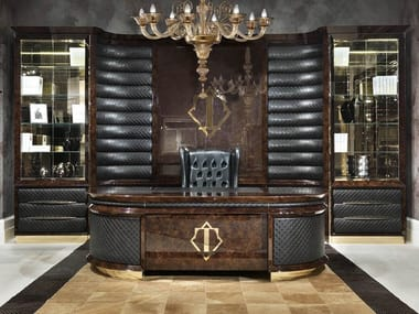 Lacquered oval wooden executive desk ORION | Oval office desk