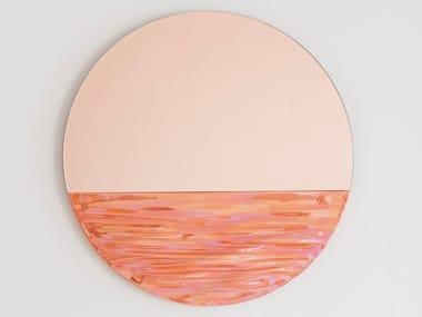 Wall-mounted round mirror ORIZON CORAL PINK