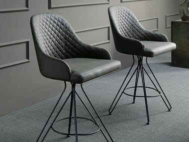 High upholstered leather stool OTELLO