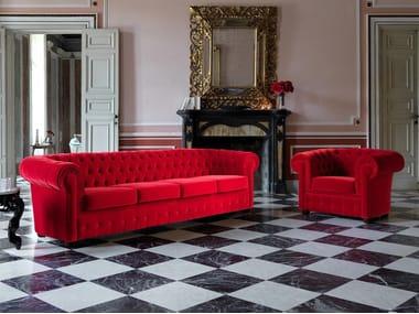 Tufted 4 seater fabric sofa bed OTTOCENTO | Tufted sofa