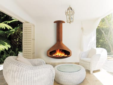 Wood-burning outdoor wall-mounted fireplace PAXFOCUS | Outdoor fireplace