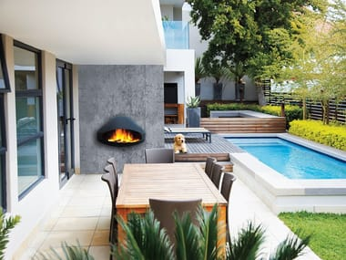 Wood-burning outdoor wall-mounted fireplace MIOFOCUS | Outdoor fireplace