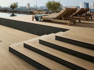 Porcelain stoneware outdoor floor tiles with wood effect FLEUR DE BOIS | Outdoor floor tiles with wood effect