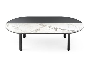 Oval wood veneer and ceramic coffee table BAM | Oval coffee table