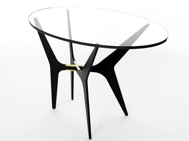 Oval glass and steel high side table DEAN | Oval coffee table