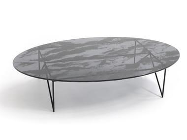 Oval crystal and steel coffee table AEROZEPPELIN | Oval coffee table