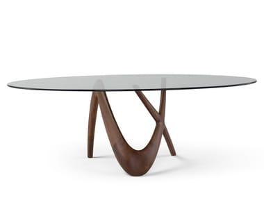 Mesa oval de madeira e vidro NX | Mesa oval