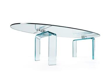 Tavolo da pranzo ovale in vetro POLICLETO | Tavolo ovale