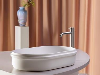 Lavabo da appoggio ovale singolo in Cristalplant® RISE   Lavabo ovale