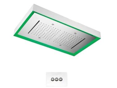 Soffione doccia a LED in acciaio inox con 3 getti WATER THERAPY   Soffione doccia rettangolare