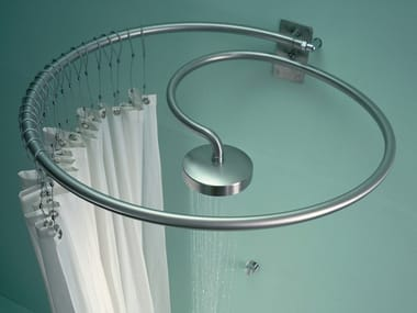 Wall-mounted round stainless steel overhead shower PLUVIAE | Overhead shower