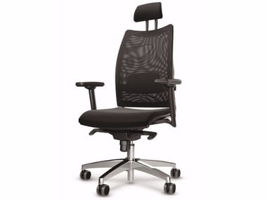 Height-adjustable mesh executive chair with 5-spoke base with headrest OVERTIME | Mesh executive chair