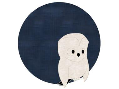 Round cotton kids rug OWL