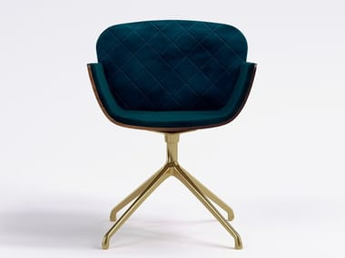 Swivel upholstered velvet chair with 4-spoke base OXFORD