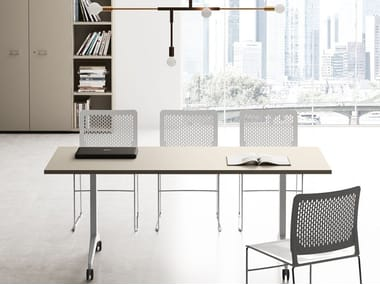 Rectangular office desk with flip-top OYO | Office desk with casters
