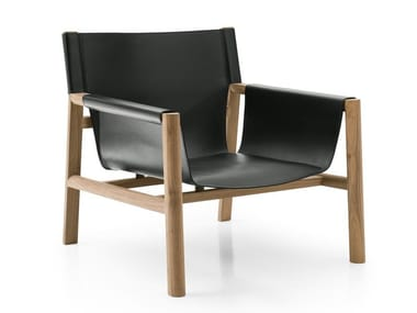 Tanned leather armchair with armrests PABLO