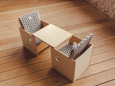 Square birch Kids table PACK DUO OSIT -  NENJOY
