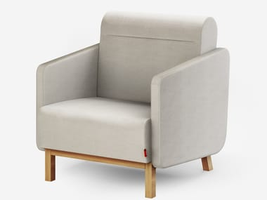 Upholstered wool armchair with armrests PACKMAN   Armchair with armrests