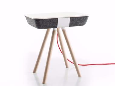 Tavolino rettangolare in laminato con vano contenitore PAD BOX WOOD