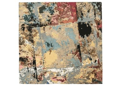 Patterned square wool rug PALETTE | Square rug