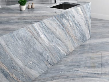 Indoor Sintered ceramic wall/floor tiles with marble effect PALISANDRO BLUE