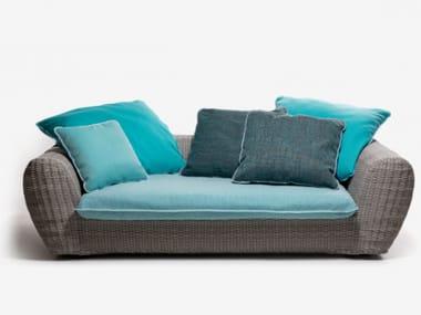 Resin garden sofa with removable cover PANDA 02/03