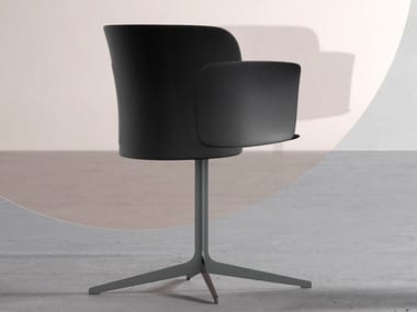 Polypropylene chair with 4-spoke base with armrests PAPER | Chair with 4-spoke base