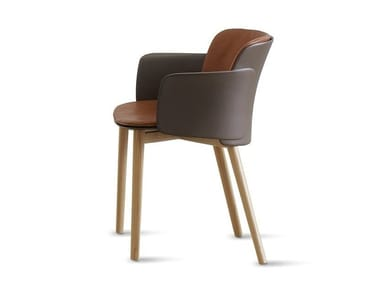 Polypropylene and leather chair with armrests PAPER | Leather chair