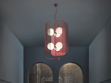 Painted metal chandelier PAPILIO S3+3