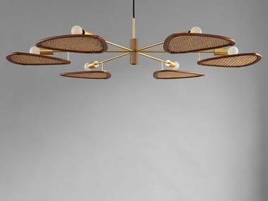 Lampada a sospensione a LED in rattan e alluminio PAPILLION COLONIAL