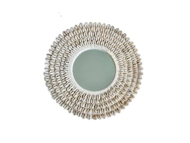 Round wall-mounted natural fibre mirror PAPUA | Mirror