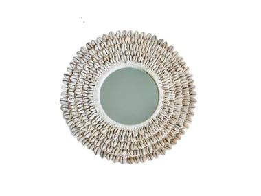 Round wall-mounted natural fibre mirror PAPUA   Mirror