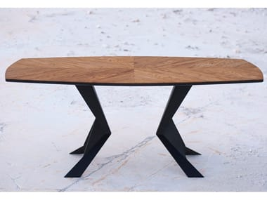 Rectangular wood veneer table PARABOLA